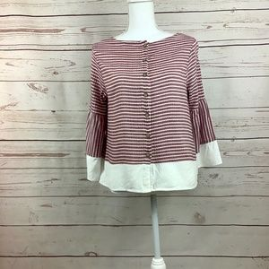 Doe & Rae Red White Stripe Button Boho Blouse